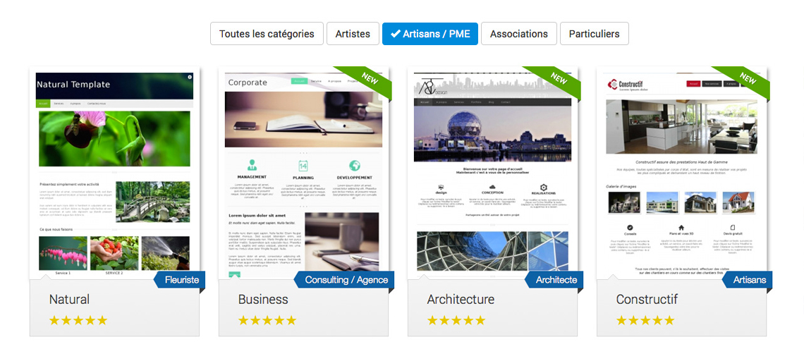 Creation site professionnel - Templates